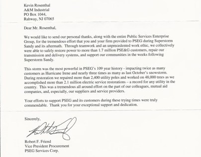 2012 PSE&G Commendation Letter for A&M's ERT Response