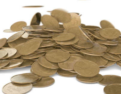 Gold Coins Falling into a Pile