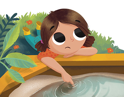 girl character thinking by the sand box