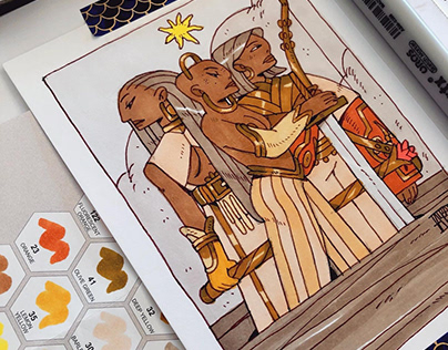 🌞 Using my Arrtx alcohol markers set! ☄️🖤