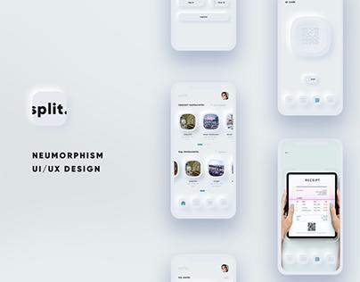 split. neumorphism ui ux payment app