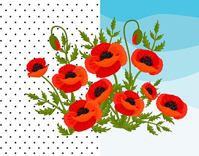Poppy Vector Illustration and Digital Paper