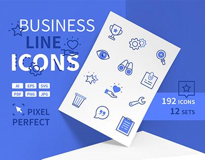 Business Line Design Icons Bundle