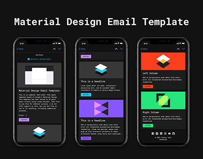 Free HTML Email Template - DARK MODE Material Design