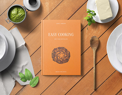 Hard Cover Cook Book Mockup