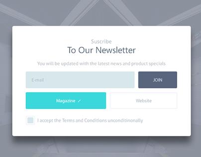 Newsletter pop up design