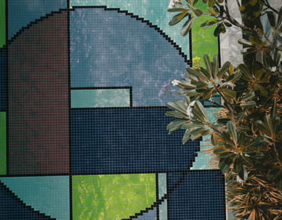 Mondrian Inspired Mosaic / Glazed Porcelain