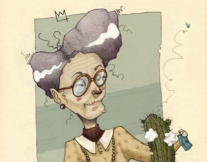 Grandma shaving cactus