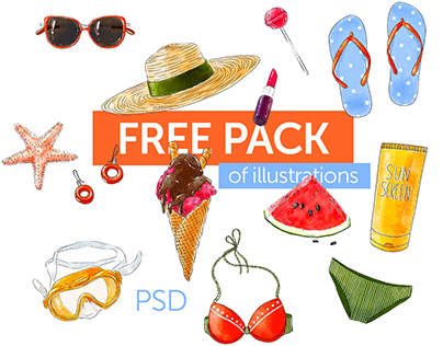 Free pack of summer illustrations PSD