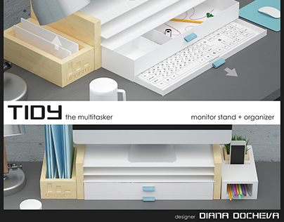 TIDY - adjustable monitor stand and desk organizer