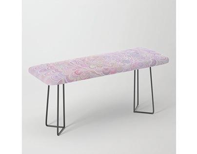 Light Pink Flower Mandala Bench