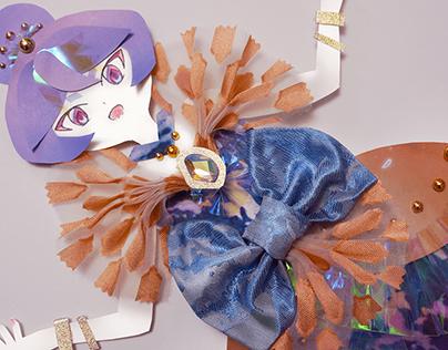 THE DAWN magical girl paper cut doll