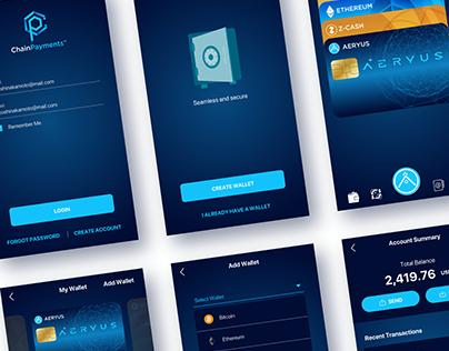Aeryus Chain Payments   UI/UX 2019 mobile app design