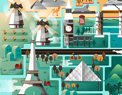 Wanderskye Luggage Cover: World Landmarks