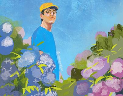Man in Hydrangea Field