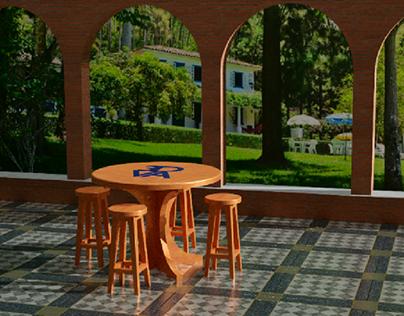 Mesa e banquetas