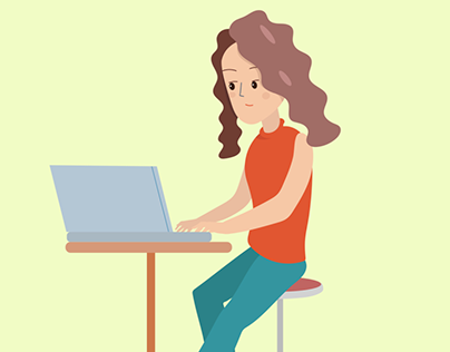 A woman working on her laptop