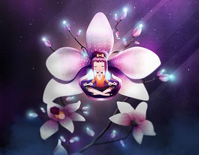 Orchid Meditation   Digital Art