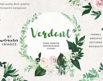 Verdant Watercolor Floral Graphic Clip Art Set