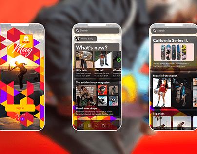 UI mobile app design of skateboard mag