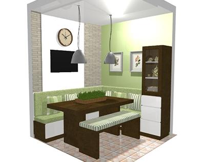 PROJETO: sala de jantar de um pequeno apartamento