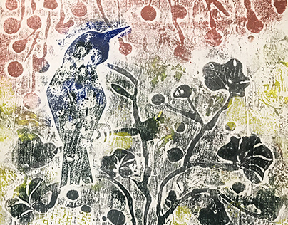 plant, heart and bird- Printmaking-collagraph