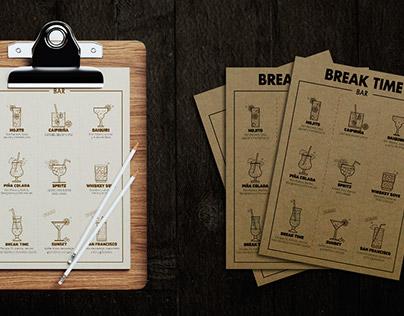 "Drink Menu for ""Break Time"" Bar in Coruña"