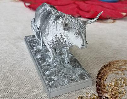 White Metal Bull 2021 — 3D printed figurine PLA