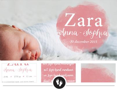 Geboortekaartje Zara