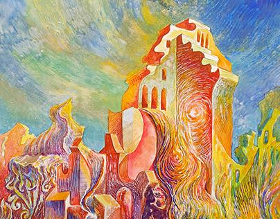 Watch tower. Paper, 40х70 см, watercolor.