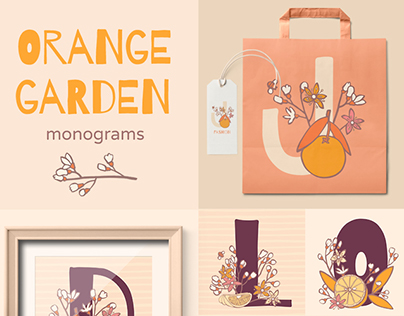 Orange garden. Decorated monograms