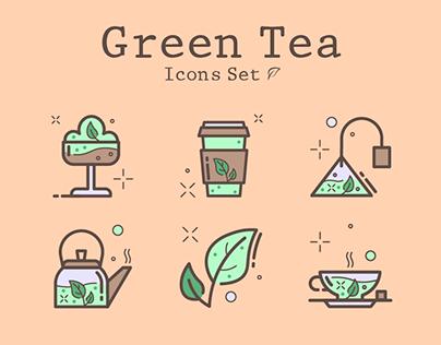 Green Tea Icons Set