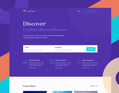 Love Travel Website concept