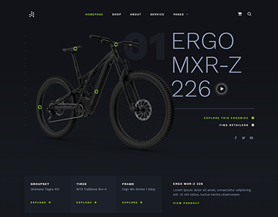 Bike bicycle Store Design with UI UX