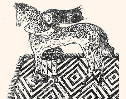 a little girl and her horse- linoleum printmaking