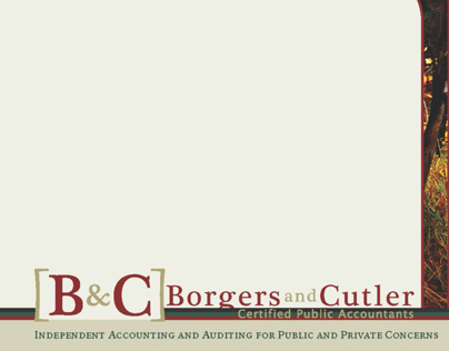 Borgers & Cutler Square Tri-fold Mock-up - 2013