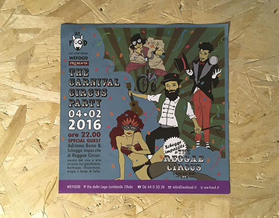 Flyer with illustration for the Carnival event We Food