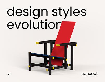 Design styles evolution VR app concept