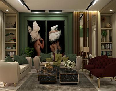 Olive living room.