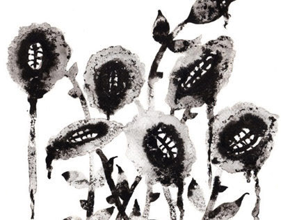 Flowers 16.  Ink and markers on paper.