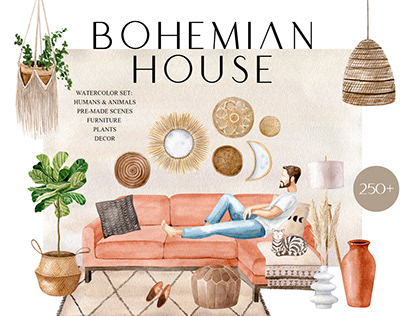 Bohemian House Watercolor Collection