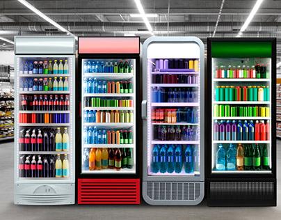 Glass door fridge photo mockup at supermarket