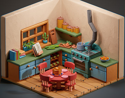 Clay Kitchen - low poly diorama