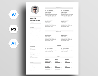 Free minimal resume template (CV) in word and PS