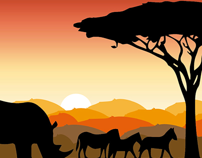 Mural de 7 metros - Silhueta - Safari