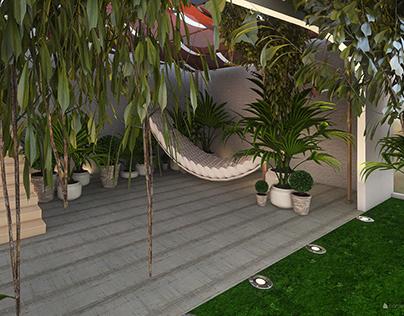 Garden Patio Space Setup - 3D renders