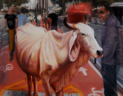 BINARY CATTLE - OIL ON CANVAS - 90 X 160 X 3 cm - 2020