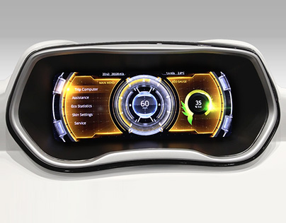 Automotive cluster UI / UX composed in Kanzi