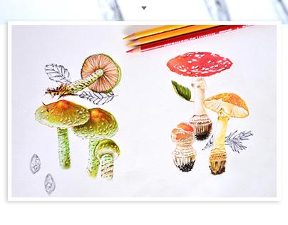 Técnica: colores con trementinta y rapidógrafo