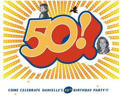 Danielle's 50th Birthday / invitation and wine label